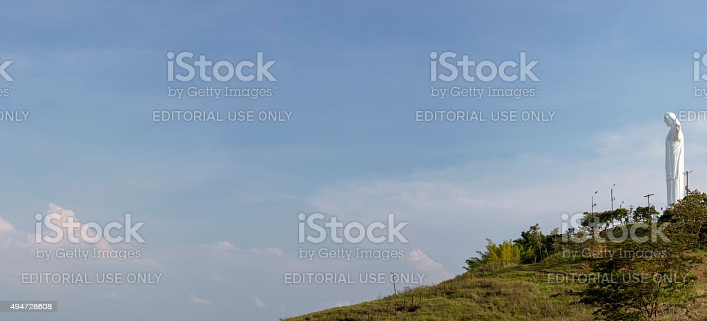 Panorama of Cristo del Rey statue in Cali stock photo