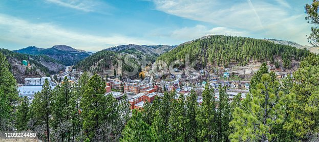 Deadwood - South Dakota - United States - 9 March 2017. View from above of the town of Deadwood