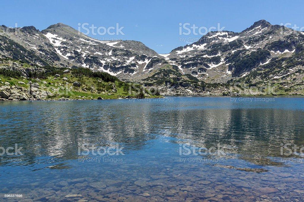 Panorama of Demirkapiyski chuki and Dzhano peaks, Popovo lake, Pirin Lizenzfreies stock-foto