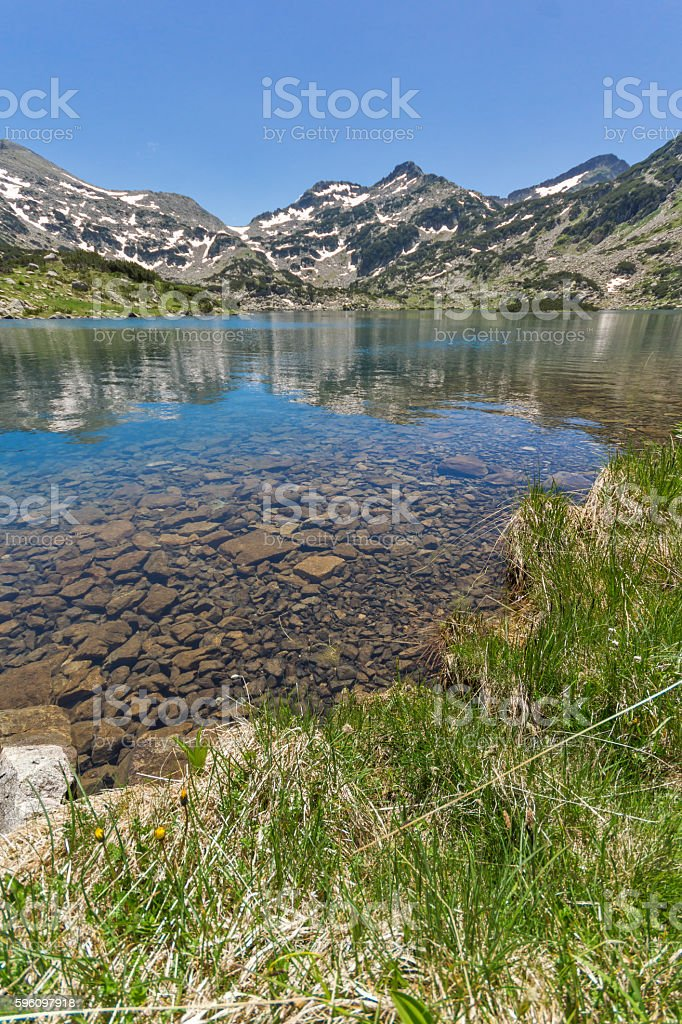 Panorama of Demirkapiyski chuki peak and Popovo lake, Pirin Mountain royalty-free stock photo