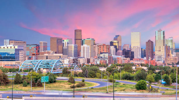 Panorama of Denver skyline at twilight. stock photo