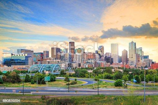 istock Panorama of Denver skyline at twilight. 680820204