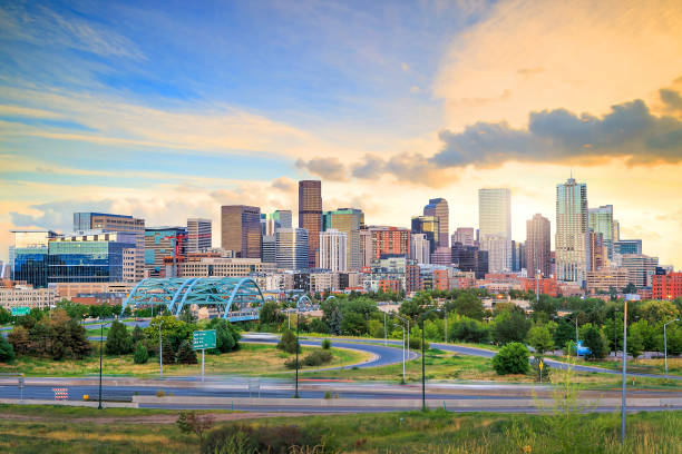 Panorama of Denver skyline at twilight. Panorama of Denver skyline long exposure at twilight. denver stock pictures, royalty-free photos & images