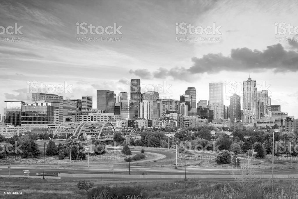 Panorama of Denver skyline at twilight. stock photo