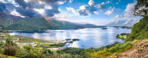 Panorama of Derwentwater lake in Cumbria stock photo