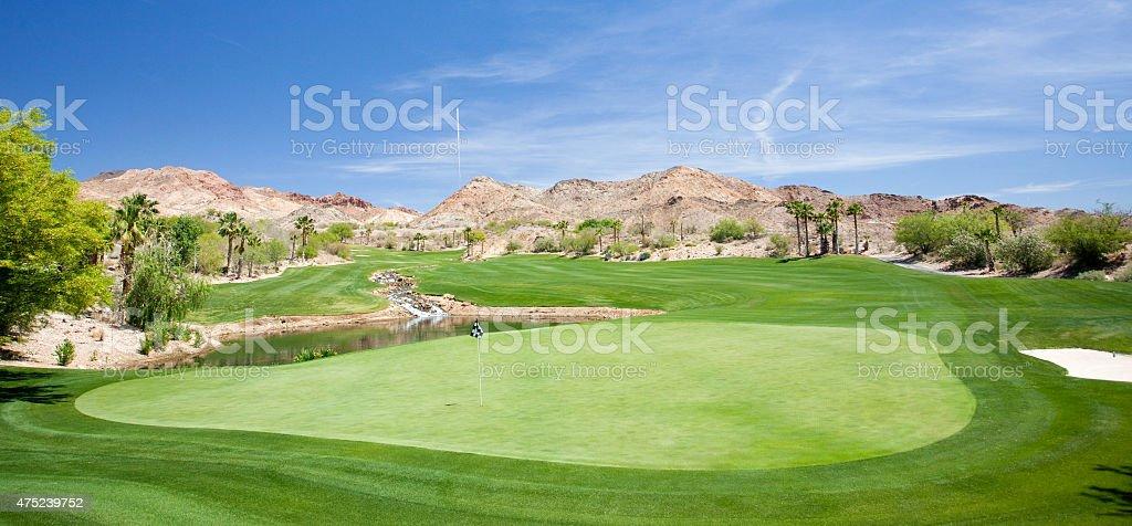Panorama of Desert Golf Course stock photo