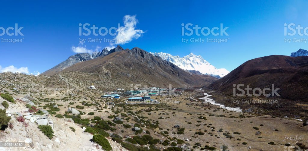 Panorama of Dingboche and Lhotse, Everest Base Camp trek, Nepal stock photo