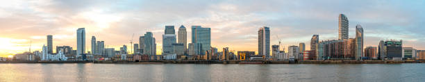 Panorama of Docklands and Canary Wharf at sunset stock photo