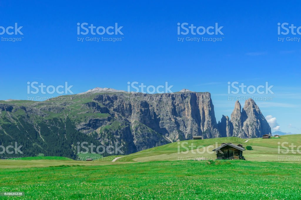 Panorama of dolomites mountains by Seiser Alp in South Tyrol stock photo
