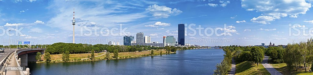 Panorama of Donau City Vienna and the new DC-Tower stock photo