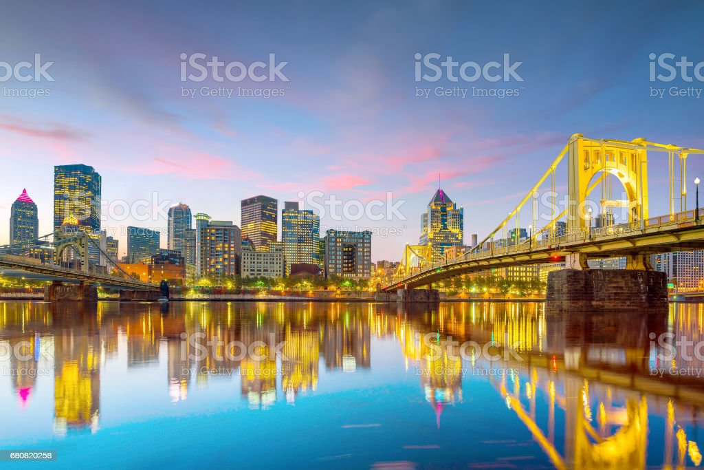 Panorama of downtown Pittsburgh at twilight Panorama of downtown Pittsburgh skyline at twilight Architecture Stock Photo
