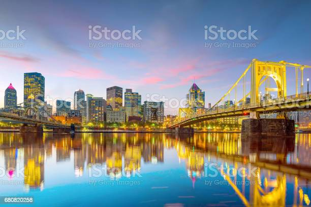 Panorama Of Downtown Pittsburgh At Twilight Stock Photo - Download Image Now