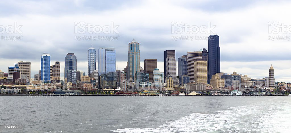 Panorama of Downtown Seattle stock photo