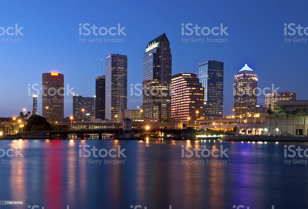 Panorama of downtown Tampa Florida in the evening stock photo