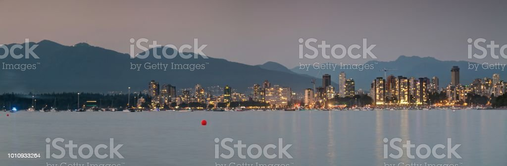panorama of downtown Vancouver Canada at blue hour