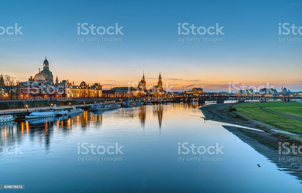 Panorama of Dresden after sunset stock photo