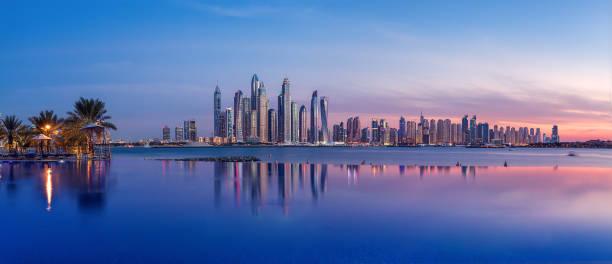 Panorama of Dubai Marina at sunset stock photo