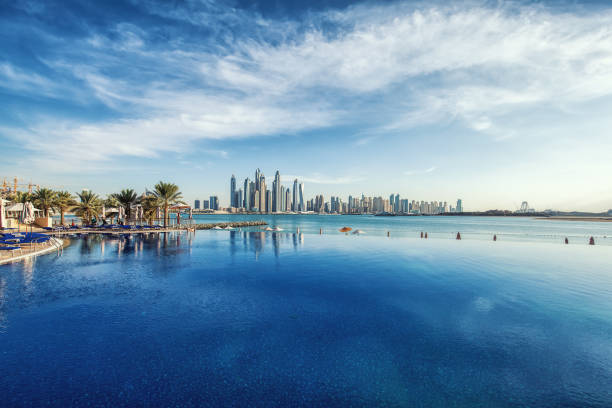 Panorama of Dubai Marina Skyline. United Arab Emirates stock photo
