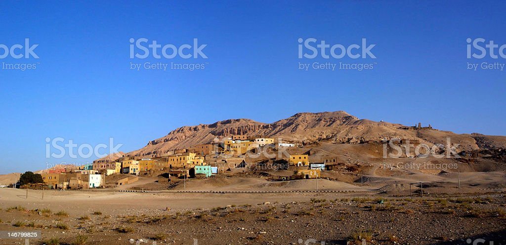 Panorama of egyptian village in Gurna - Luxor Egypt stock photo