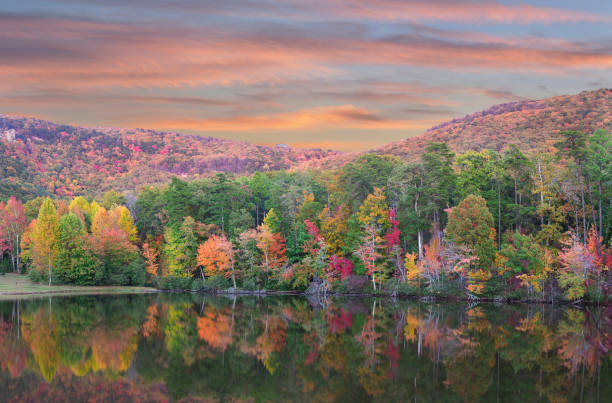 panorama of fall foliage reflected in the lake at cheaha state park, alabama - alabama zdjęcia i obrazy z banku zdjęć