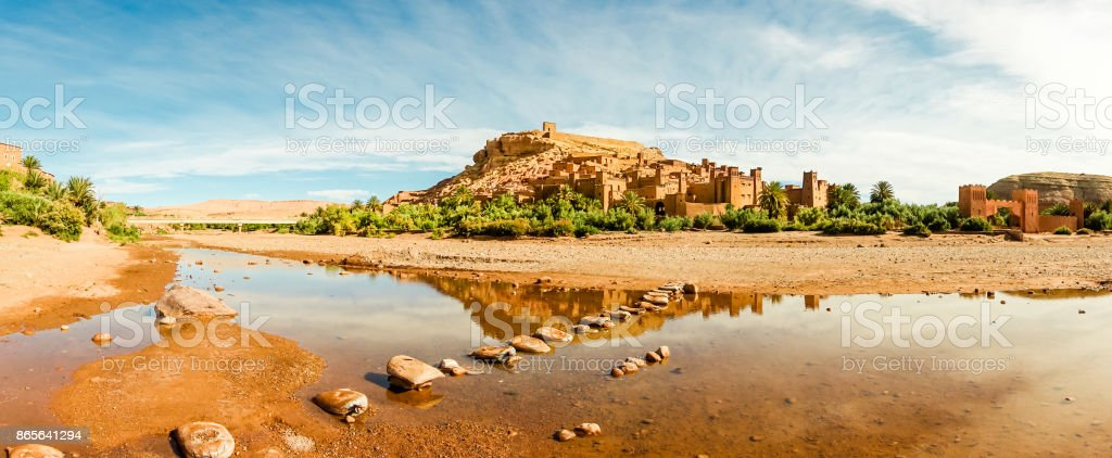 Panorama of famous Ait Benhaddou, Morocco stock photo
