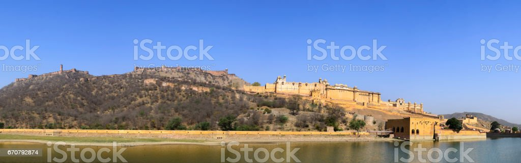 Panorama of famous Amer (Amber) fort of Rajasthan stock photo