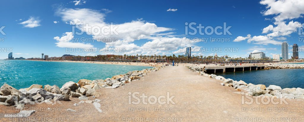 Panorama of famous Barceloneta sand beach stock photo