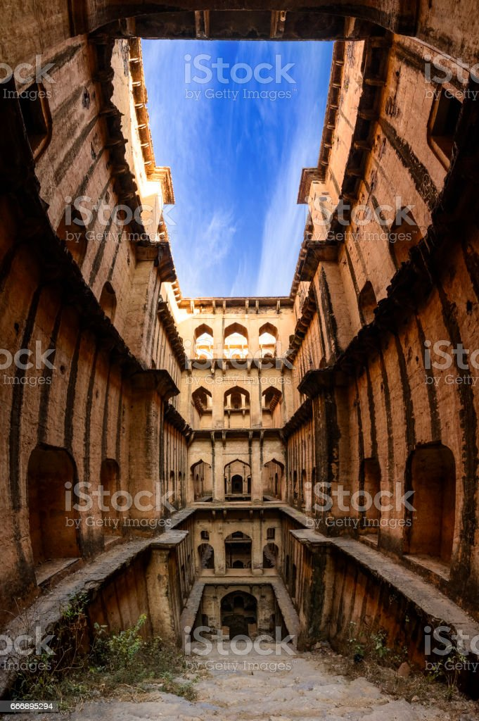 Panorama of Famous stepwell / baori, situated in the village Neemrana stock photo