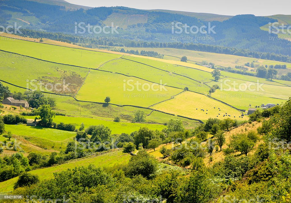Panorama of Farm, Staffordshire, UK. stock photo