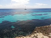 panoramic view of the blue and emerald sea of mediterranean island of Favignana, Egadi islands, Sicily, Italy.