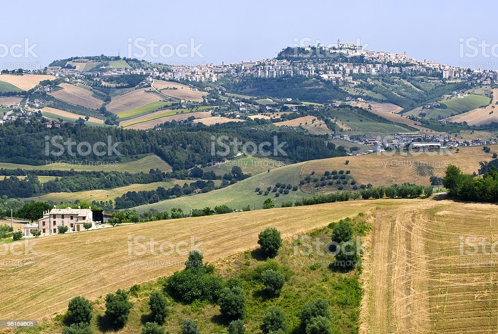 Panorama of Fermo (Marches, Italy) at summer royalty-free stock photo