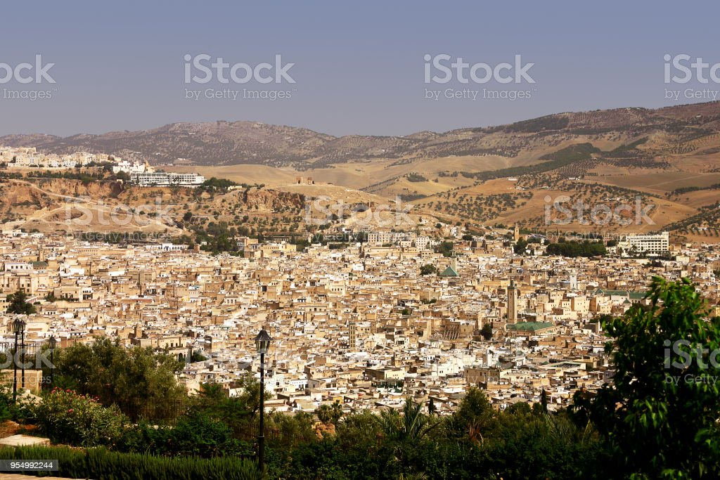 Panorama of Fes in a sunny day of August. Morocco, North Africa - foto stock