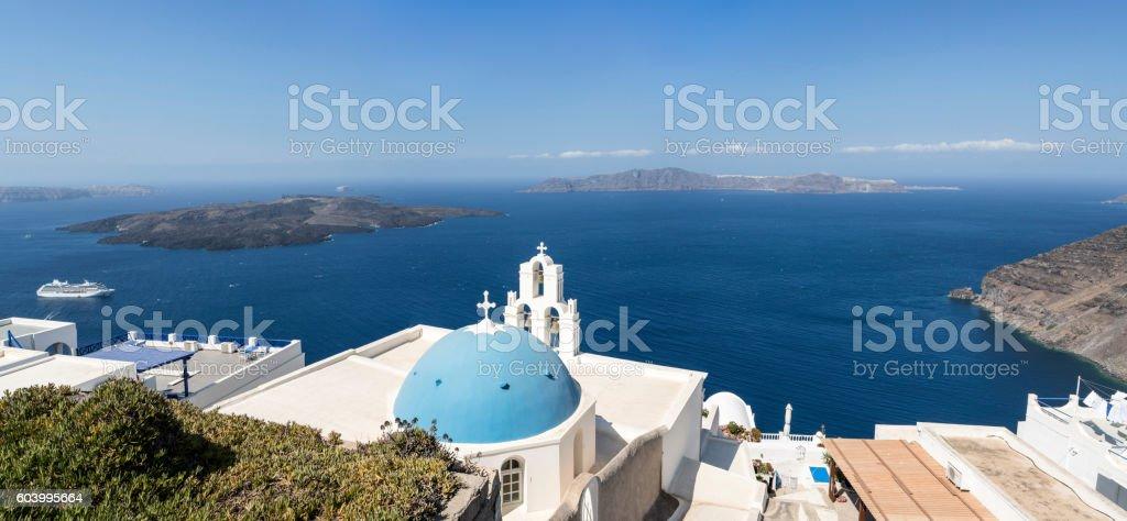 Panorama of Fira church in Santorini island of Greece stock photo