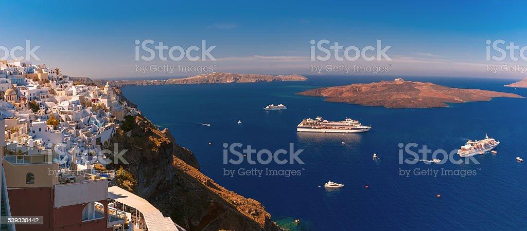 Panorama of Fira, Santorini, Greece stock photo