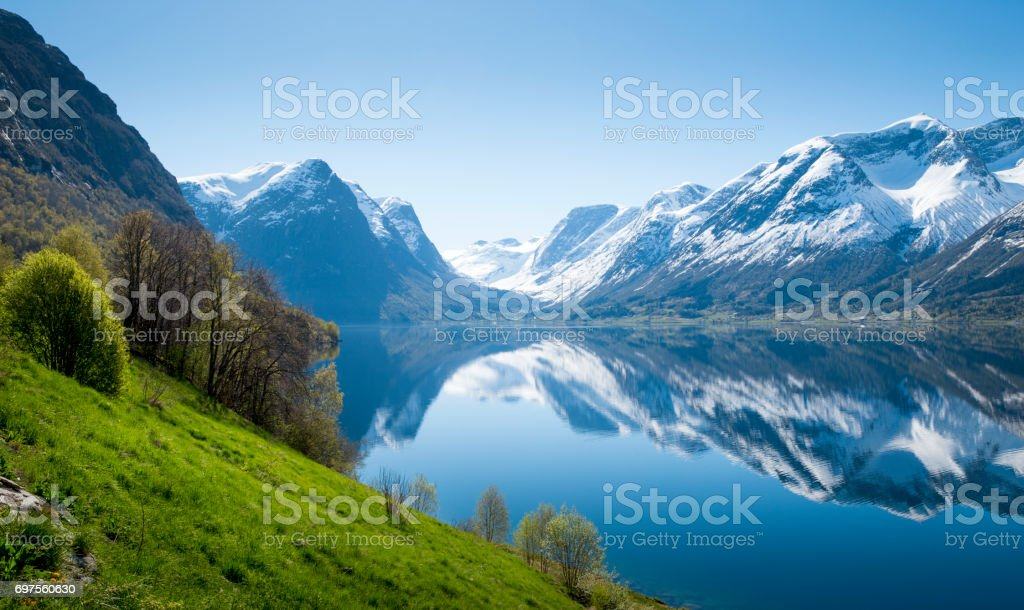 Panorama of fjord in Norway stock photo