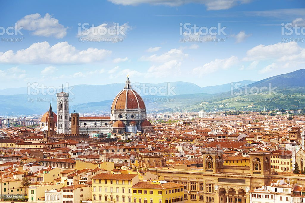 Panorama of Florence and Saint Mary Panorama of Florence and Saint Mary of the Flower in Florence Architectural Dome Stock Photo