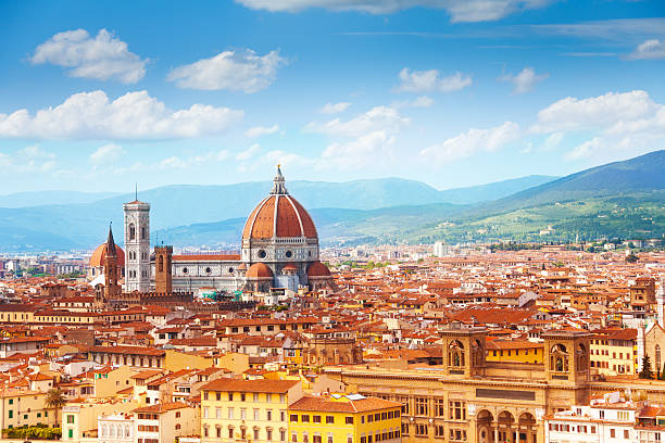 Panorama of Florence and Saint Mary Panorama of Florence and Saint Mary of the Flower in Florence florence italy stock pictures, royalty-free photos & images