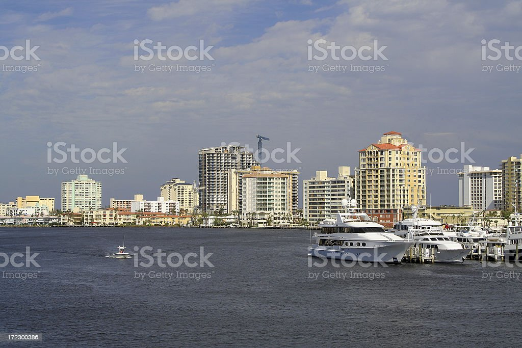 Panorama of Fort Lauderdale harbor, Florida royalty-free stock photo