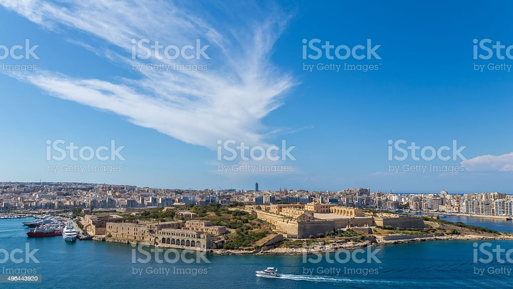 Panorama of Fort Manoel at Valletta, Malta stock photo