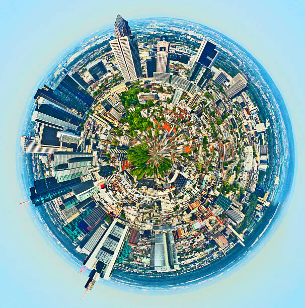 panorama von frankfurt - stadt frankfurt stock-fotos und bilder