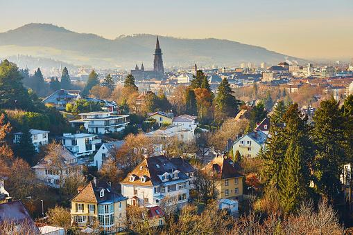 Panorama of Freiburg im Breisgau in Germany