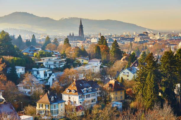 Panorama of Freiburg im Breisgau in Germany stock photo
