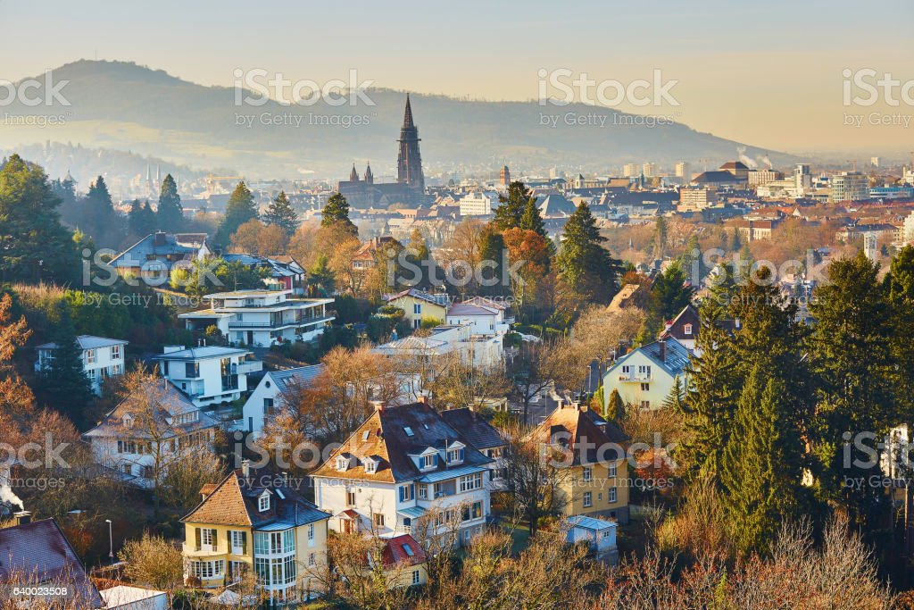 Panorama of Freiburg im Breisgau in Germany stock photo