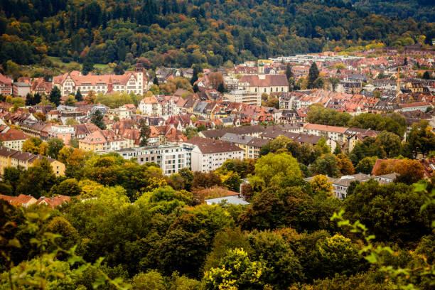 panorama von freiburg - sommerferien baden württemberg stock-fotos und bilder