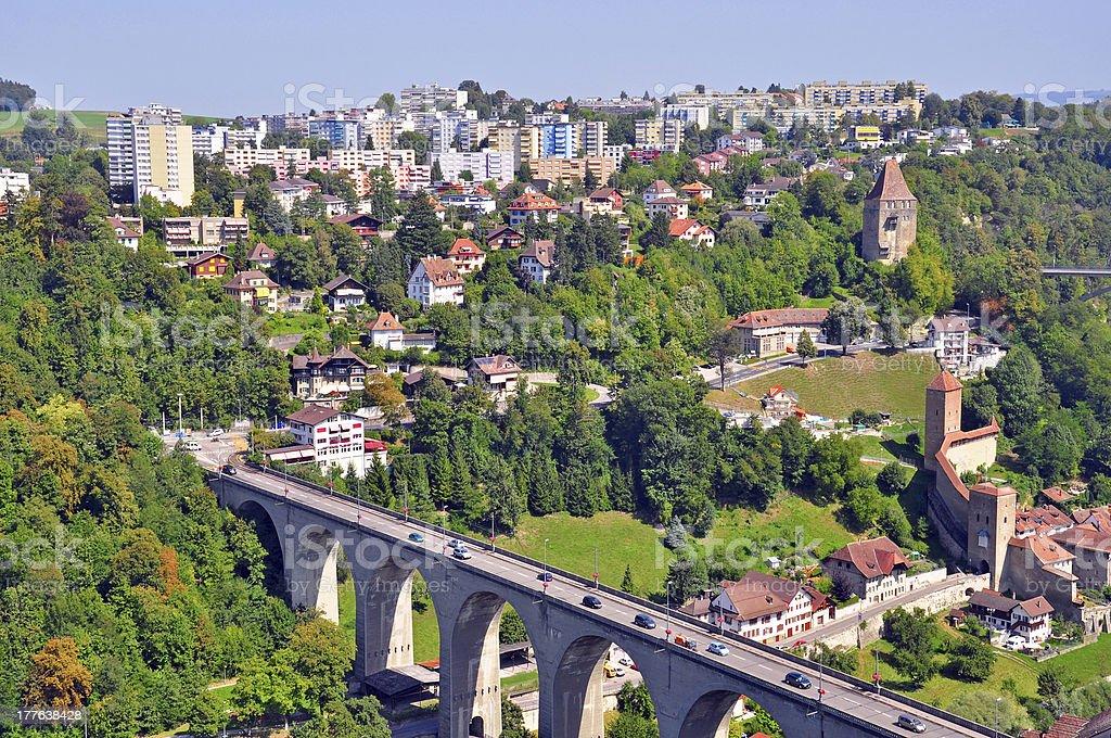 Panorama of Fribourg stock photo