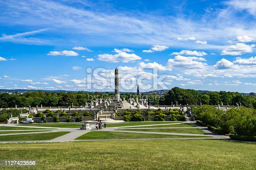 Panorama of Frogner Park with the most popular attraction, the Monilith designed by Gustav Vigeland, Oslo, Norway
