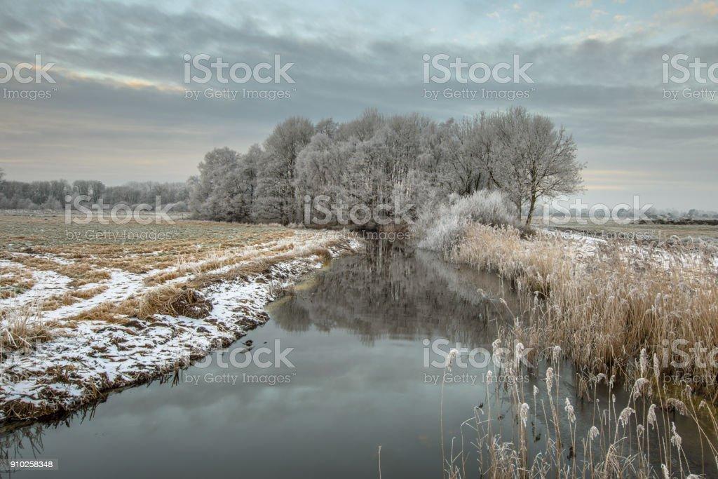 Panorama of Frozen river Drentsche Aa in province Drenthe stock photo