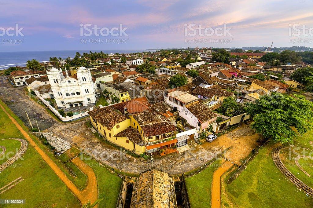 Panorama of Galle city at morning time, Sri Lanka stock photo