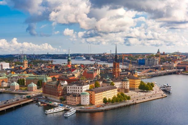 Panorama of Gamla Stan in Stockholm, Sweden Scenic summer aerial panoramic view of Gamla Stan in the Old Town in Stockholm, capital of Sweden stockholm stock pictures, royalty-free photos & images
