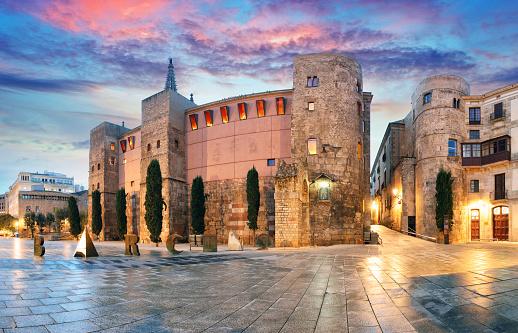 Panorama of Gate, Barri Gothic Quarter, Barcelona, Spain